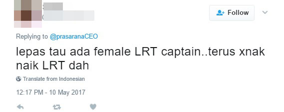 Prasarana Ceo Tweets About The Youngest Lrt Captain Gets Mean Comments World Of Buzz 5